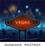 vegas city sign at night and... | Shutterstock .eps vector #441274414