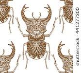 monochrome hand drawn seamless... | Shutterstock .eps vector #441277300