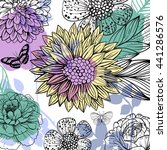 flower and butterfly pattern | Shutterstock .eps vector #441286576