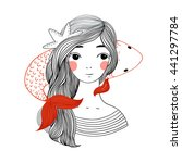 beautiful young girl sailor and ... | Shutterstock .eps vector #441297784