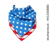 Small photo of Bandana with American flag print shaped to form around your subject's neck