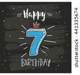 happy seventh birthday... | Shutterstock .eps vector #441335674