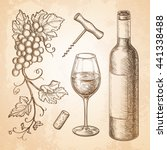 wine still life on old paper... | Shutterstock .eps vector #441338488