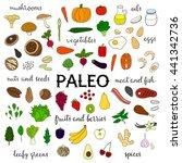 hand drawn paleo diet food...   Shutterstock .eps vector #441342736