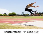 athlete performing a long jump... | Shutterstock . vector #441356719