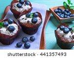 muffins berries blueberry...   Shutterstock . vector #441357493