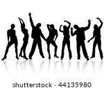 dancing people silhouettes  ... | Shutterstock .eps vector #44135980
