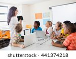 a teacher giving lesson with... | Shutterstock . vector #441374218