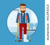 an injured hipster man with leg ... | Shutterstock .eps vector #441393313