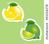 lemon and lime fruits sticker... | Shutterstock .eps vector #441416278