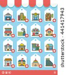 icon set building vector | Shutterstock .eps vector #441417943