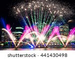 Colorful Fireworks On The Wate...