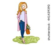 cute cartoon fashion girl with... | Shutterstock .eps vector #441439390