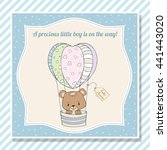 baby boy shower card with teddy ... | Shutterstock .eps vector #441443020