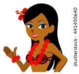 explaining female hula dancer   ... | Shutterstock .eps vector #441450640