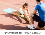 woman training with personal... | Shutterstock . vector #441463510