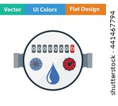 water meter icon. flat color...