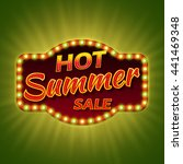 hot summer sale. 3d retro light ... | Shutterstock .eps vector #441469348