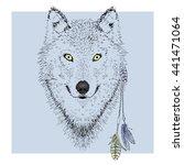 wolf character portrait in... | Shutterstock .eps vector #441471064