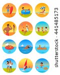 summer holidays color icons... | Shutterstock . vector #441485173