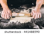 hands baking dough with rolling ... | Shutterstock . vector #441488590