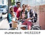 portrait of happy friends... | Shutterstock . vector #441522319
