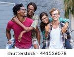 happy young men giving... | Shutterstock . vector #441526078