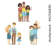 happy families posing together | Shutterstock .eps vector #441536830