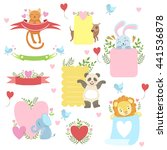 message template set with cute... | Shutterstock .eps vector #441536878