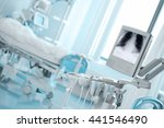 Small photo of X-ray monitoring patient in critical condition.