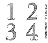 one  two  three  four vintage... | Shutterstock . vector #441558160