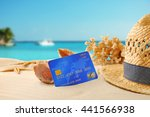 credit card on holiday on... | Shutterstock . vector #441566938