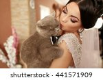 the smilling  bride keeps her... | Shutterstock . vector #441571909