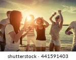 friends funny dance on the... | Shutterstock . vector #441591403