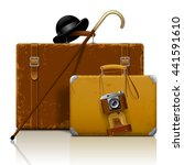 old suitcases with walking... | Shutterstock .eps vector #441591610