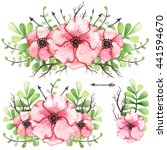 set of watercolor bouquets with ... | Shutterstock . vector #441594670