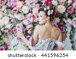 the girl in a dress with flowers | Shutterstock . vector #441596254