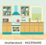 kitchen interior. brick wall... | Shutterstock .eps vector #441596440