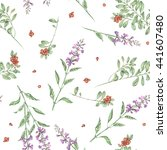 seamless floral pattern with... | Shutterstock . vector #441607480