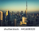 downtown dubai with many modern ... | Shutterstock . vector #441608320