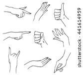 set of hands and fingers in... | Shutterstock . vector #441614959