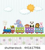 baby shower card with train and ... | Shutterstock . vector #441617986