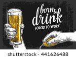 male hands holding a beer glass ... | Shutterstock .eps vector #441626488