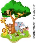 funny animal cartoon with... | Shutterstock .eps vector #441639619
