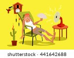 mature man sitting in his house ... | Shutterstock .eps vector #441642688