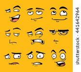 funny cartoon faces with... | Shutterstock . vector #441642964