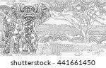 beautiful african landscape... | Shutterstock .eps vector #441661450