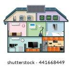 energy efficient house cutaway... | Shutterstock .eps vector #441668449