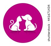 cute cat and dog silhouettes... | Shutterstock .eps vector #441671434
