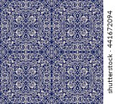seamless damask pattern in blue ... | Shutterstock .eps vector #441672094
